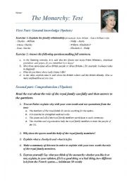 English Worksheet: The Monarchy
