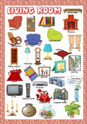 English Worksheet: Living Room Picture Dictionary