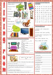 English Worksheet: Living Room (Vocabulary Exercises)