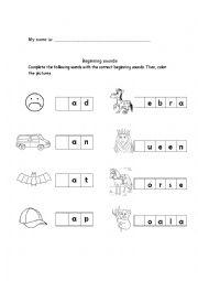 English Worksheet: beginning sounds 2
