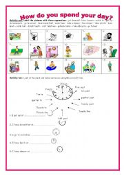 English Worksheet: 7th form module 1 section 4 how do you spend your day? (part 1)