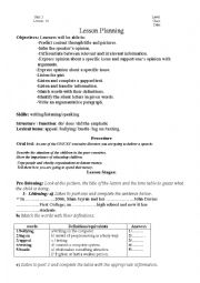 English Worksheet: virtual school ( lesson plan) 4th year tunisian pupils