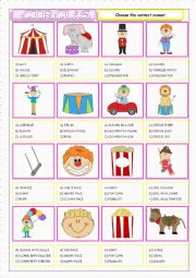 English Worksheet: Circus-Multiple Choice