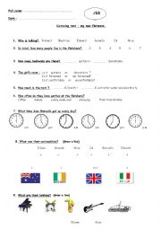 English Worksheet: My new flatmate: listening test.