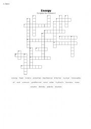 English Worksheet: Energy (types and sources) crossword