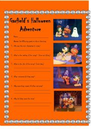 English Worksheet: Garfield�s Halloween Adventure