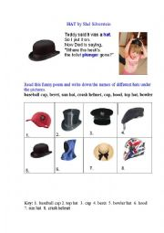 English Worksheet: HAT (a poem + a matching exercise)