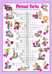 English Worksheet: Phrasal Verbs Crossword Puzzle