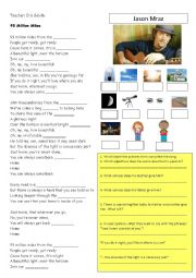 English Worksheet: 93 Million Miles- Jason Mraz - Song activity and class discussion- teacher´s key included