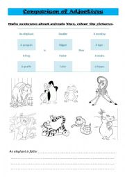 English Worksheet: Comparison of Adjectives. Animals.