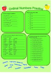 Months of the Year and Ordinal Numbers Practice (with answer key INCLUDED)