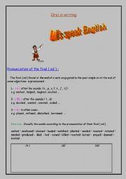 English Worksheet: pronunciation of the final ( ed )