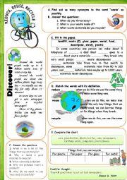 English Worksheet: reuse, reduce, recycle