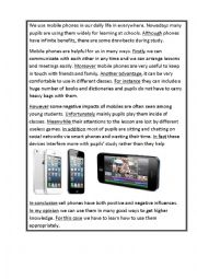 English Worksheet: mobile phones