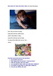 English Worksheet: PRAYER OF THE SELFISH CHILD (a poem)