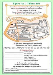 English Worksheet: In Mary�s pencil case