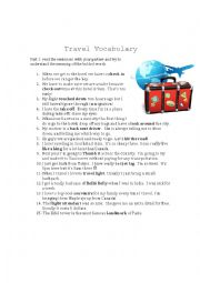 English Worksheet: Travel related Vocabulary, idioms, phrasal verbs and slang
