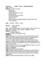 English Worksheet: Module 1/Lesson 1: Family relationships lesson plan