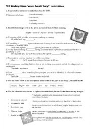 English Worksheet: If Today was your Last Day- Nickelback