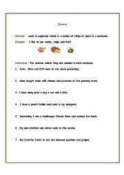 English Worksheet: Commas