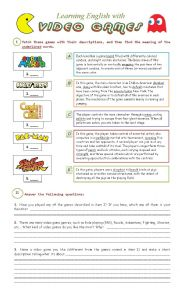 English Worksheet: Learning English with Video Games