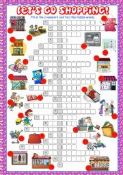English Worksheet: Shopping Crossword Puzzle