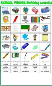 English Worksheet: School things matching exercise