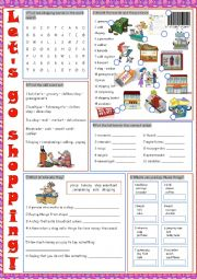 English Worksheet: Shopping Vocabulary Exercises