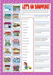 English Worksheet: Shopping Matching Exercise