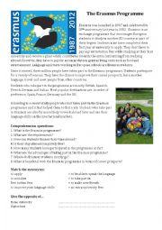 English Worksheet: Erasmus reading comprehension worksheet