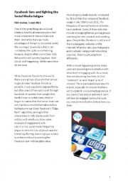 English Worksheet: Facebook fans and fighting social media fatigue