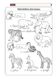 English Worksheet: Wild animals - new words