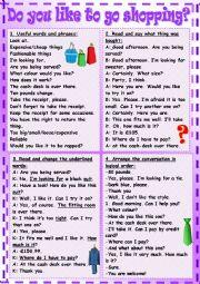 English Worksheet: Do you like to go shopping?