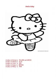 English Worksheet: Colouring card with Hello Kitty