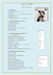 English Worksheet: HALL OF FAME THE SCRIPT
