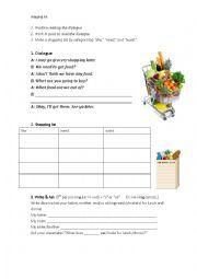 English Worksheet: Making a shopping list