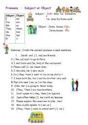 Pronouns : Subject or Object  Pronouns