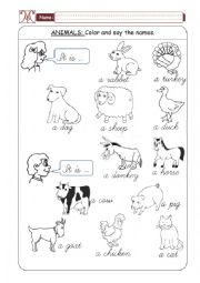 English Worksheet: Domestic Animals - Part 01