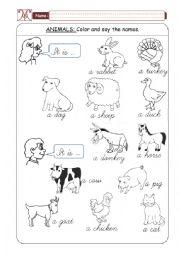 English Worksheet: Domestic Animals - Part 01