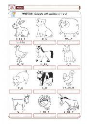English Worksheet: Domestic Animals - Part 02