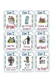 English worksheet: Can I ? / Permission / Go Fish 3/3