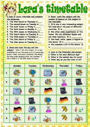 English Worksheet: Lora´s timetable