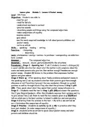 English Worksheet: Module 1 / Lesson 4:Pocket money 9th form