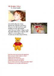 English Worksheet: MY BROTHER�S BEAR (a poem)
