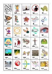 English worksheets: Diagraph and Triagraph Flashcards Set 2