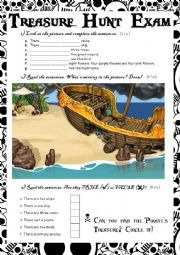 English Worksheet: Treasure Hunt Exam