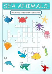 English Worksheet: Sea Animals Crossword