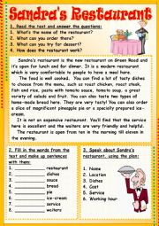 English Worksheet: Sandra�s Restaurant