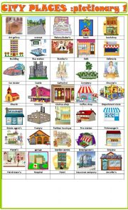 English Worksheet: City places:pictionary 1