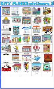 English Worksheet: City places:pictionary 2